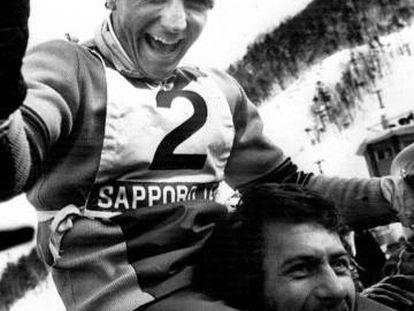 Paquito Fernández Ochoa, tras ganar el oro en el eslalon de Sapporo 72.