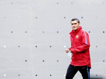 Ernesto Valverde, en la Ciudad Deportiva de Barcelona.