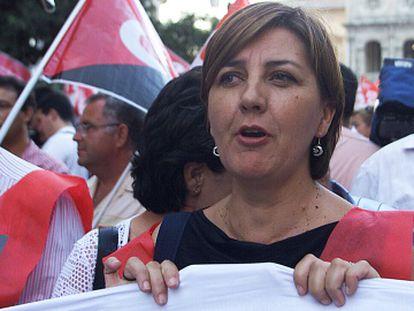 Josefa Medrano, durante una protesta contra el cierre de Altadis cuando era presidenta del comité de empresa de la tabacalera.