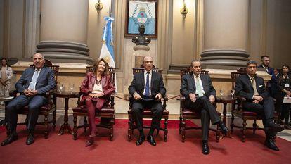 Los jueces de la Corte Suprema de Argentina en la apertura del año judicial, el 19 de marzo de 2019. Horacio Rosatti, nuevo presidente del tribunal, está el primero a la derecha.
