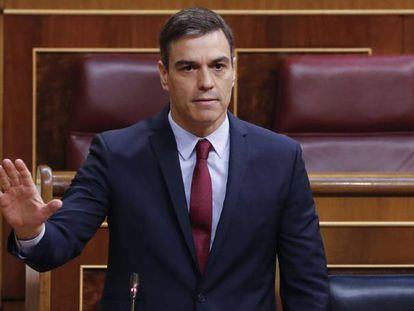 El presidente del Gobierno, Pedro Sánchez, en una la sesión de control al Ejecutivo en el Congreso.