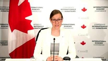 La ministra de Desarrollo Internacional de Canadá, Karina Gould, anfitriona de la conferencia internacional de donantes en solidaridad con los migrantes y refugiados venezolanos.