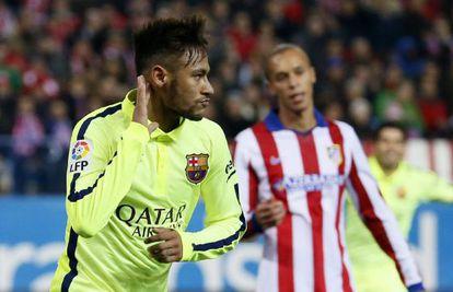 Neymar celebra uno de los goles del Barça.