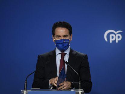 Teodoro García Egea, este jueves, en la sede del PP.