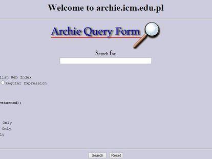 Pantallazo de Archie, el primer buscador.