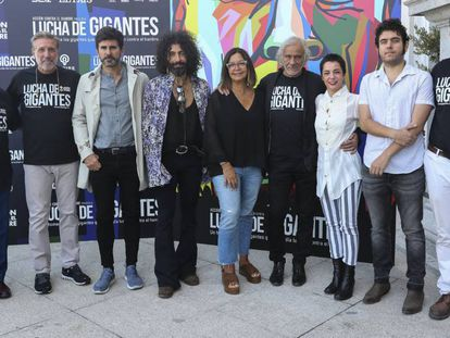 Parte del equipo detrás del proyecto Lucha de Gigantes, este lunes en Madrid.