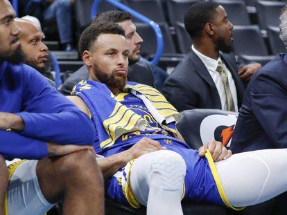 Stephen Curry, durante el partido del domingo en Oklahoma.