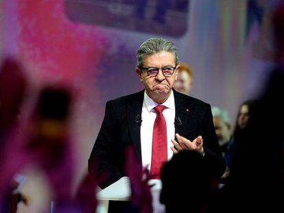 El líder de La France Insoumise, Jean-Luc Mélenchon, el domingo pasado en Reims.