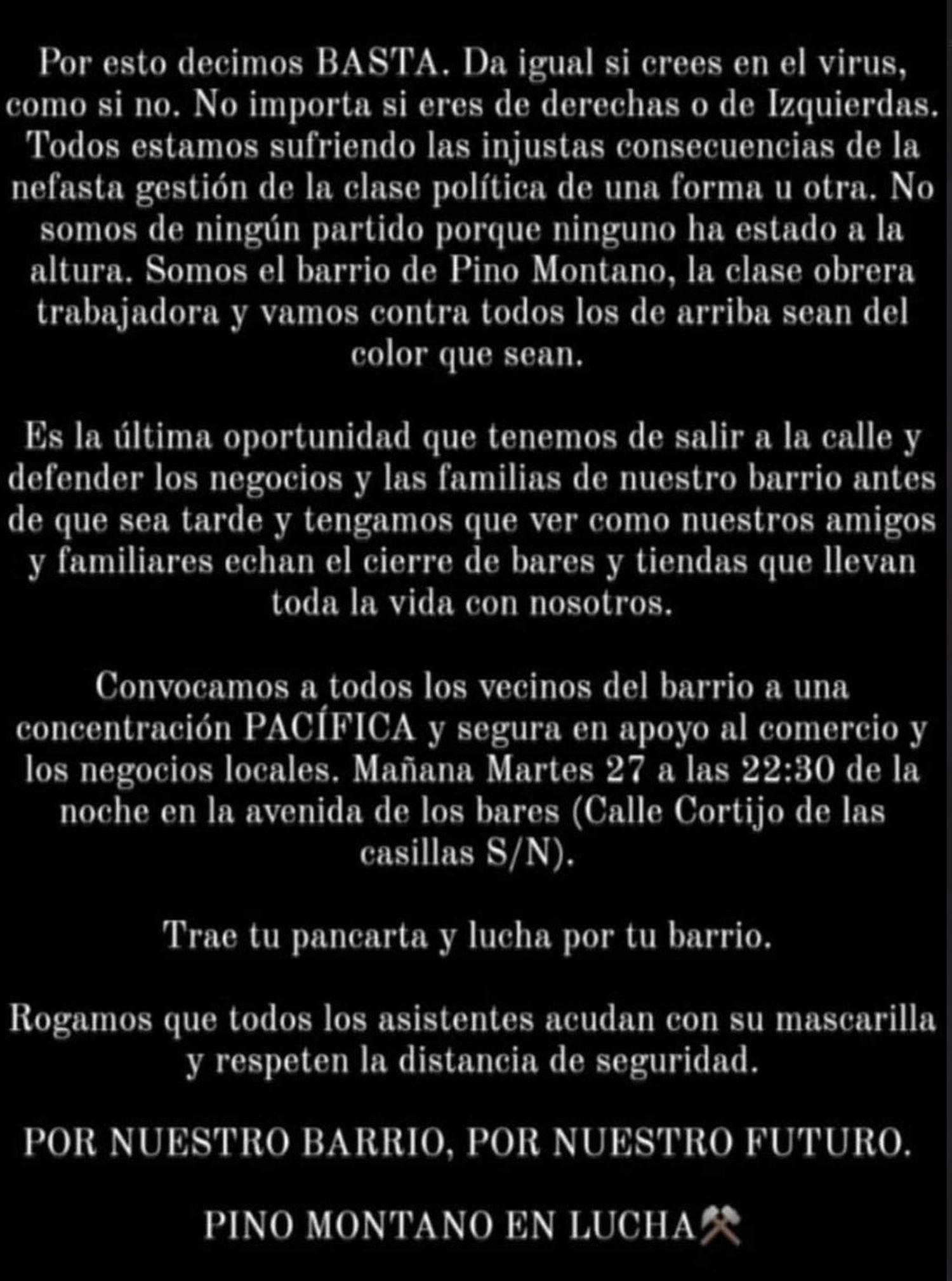 Convocatoria de la manifestación en Pino Montano.