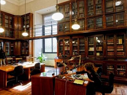 Sala Cervantes, para investigadores, de la Biblioteca Nacional.