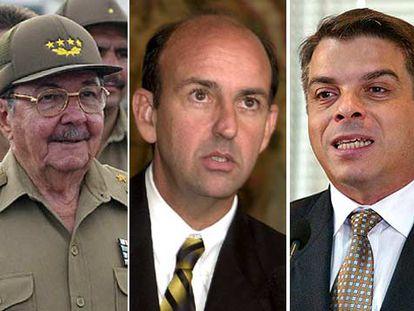 De izquierda a derecha, Raúl Castro, hermano de Fidel; Carlos Lage, vicepresidente cubano, y Felipe Pérez Roque, ministro de Asuntos Exteriores.