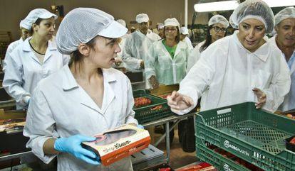 La presidenta Susana Díaz, en una empresa de Lepe (Huelva).