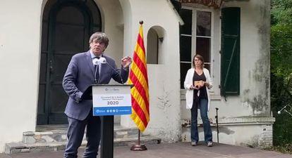 El expresidente de la Generalitat Carles Puigdemont, el día 18 en Prats de Molló, al sur de Francia.