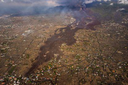 Avance de la lava en la isla de La Palma en una imagen del 23 de septiembre.