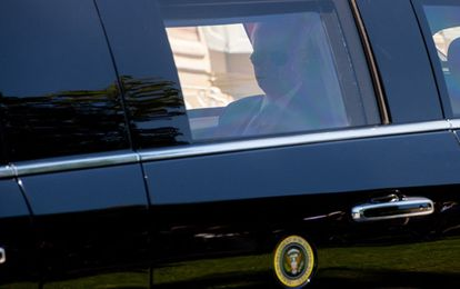 US President Joe Biden sits in his limousine as he arrives to meet with Russian President Vladimir Putin at Villa La Grange in Geneva, for the start of their summit on June 16, 2021. (Photo by SAUL LOEB / POOL / AFP)