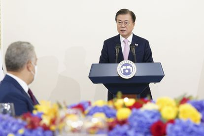 South Korean President Moon Jae-in in a meeting with his Colombian counterpart, Iván Duque, in Seoul on August 25.