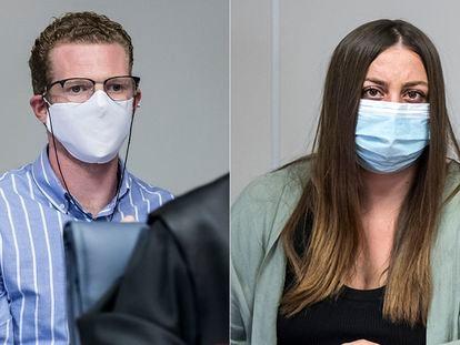 El padre y la madre de los pequeños, de cuatro años y de seis meses, acusados del doble parricidio de Godella, este lunes, ante el jurado.