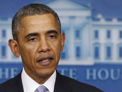 El presidente de EE UU, Barack Obama, durante su intervención sobre Ucrania.