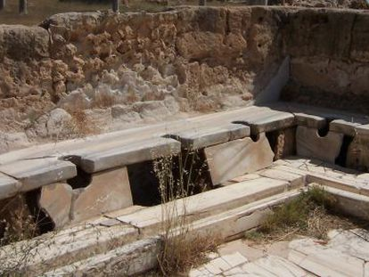 Letrinas romanas en la ciudad de Lepcis Magna, en la actual Libia.