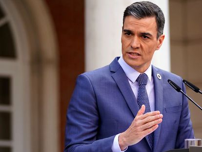 Pedro Sánchez, durante una comparecencia en La Moncloa.