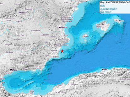 Localización del lugar del seísmo, en la página del Instituto Geográfico Nacional.