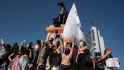 Las protestas por el 8-M en Santiago de Chile.