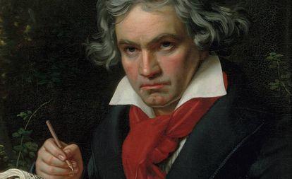 Retrato de Beethoven pintado por J. Kriehuber.