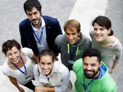 Arriba: Raúl Entrerríos, Jon Santacana y Ruth Beitia. Abajo: Elisa Aguilar, Ona Carbonell y Miguel Galindo