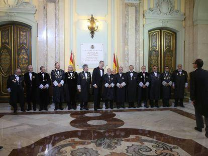 El Rey y la Sala de Gobierno del Tribunal Supremo en la apertura del año judicial, en septiembre pasado.