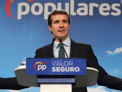 El líder del PP, Pablo Casado, durante una rueda de prensa en la sede del partido en Madrid.