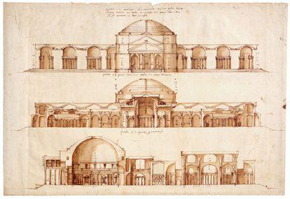Dibujo del Panteón de Roma realizado por Andrea Palladio.