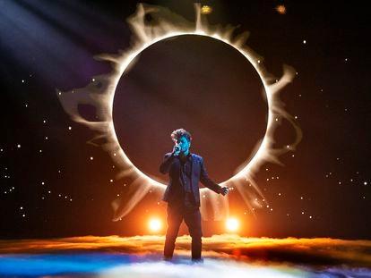 Blas Cantó interpreta 'Voy a quedarme' en la gala de TVE para elegir la canción española de Eurovisión 2021.