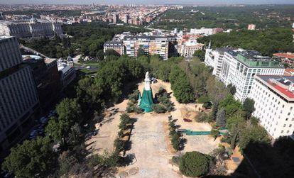 Obras de remodelación de Plaza España de Madrid.