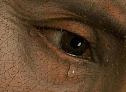En el recuadro, las lágrimas del apóstol San Juan, segundo por la izquierda en el lienzo.