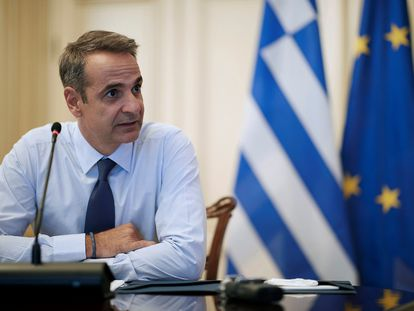 El primer ministro de Grecia, Kyriakos Mitsotakis, atiende a la prensa el pasado miércoles.