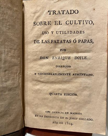 Libro de Enrique Doyle para promocionar el cultivo de las patatas.