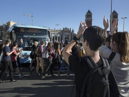 Protesta de estudiantes en Barcelona.