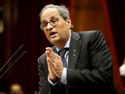 El presidente de la Generalitat, Quim Torra, durante su intervención en el debate de política general, en el Parlament de Cataluña.