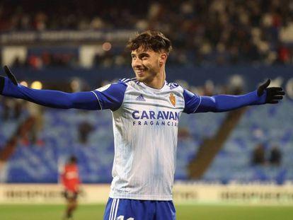 Puado celebra su gol al Mallorca.