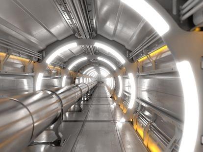 Túnel de uno de los aceleradores de partículas del CERN, el Colisionador Circular del Futuro (FCC) , entre Suiza y Francia. El anillo está conectado al LHC. / CERN