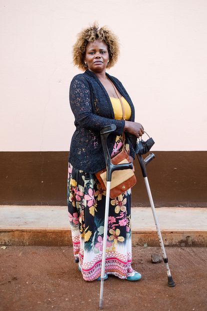 Sofía Elface Fumo, 39, lost both of her legs in 1993 when she stepped on a mine on the way to her family's farm in Massaca, southern Mozambique.