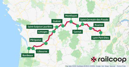 La línea férrea Burdeos-Lyon fue cancelada en el 2012. Volverá a funcionar a partir del año que viene gracias a Railcoop