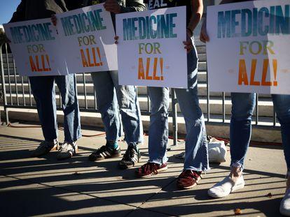 Protesta en defensa del programa Obamacare ante el Tribunal Supremo, en noviembre de 2020 en Washington.