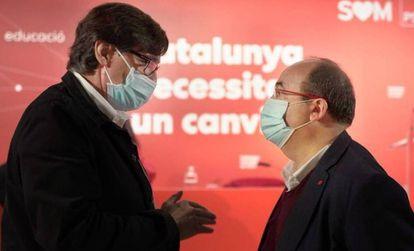 Salvador Illa (izquierda) y Miquel Iceta, durante una reunión de la ejecutiva del PSC.