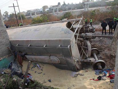 Un tren descarriló en el Estado de México este jueves.