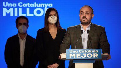 Alejandro Fernández, candidato del PP, en la rueda de prensa tras las elecciones del 14-F.