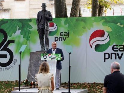 Andoni Ortuzar, reelegido presidente de la Ejecutiva del PNV hasta 2024, el día del 125 aniversario.