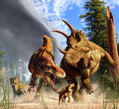 Recreación de un episodio de caza del 'Tyrannosaurus rex'.
