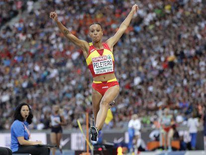 Peleteiro, en la final del triple salto, donde consiguió el bronce.