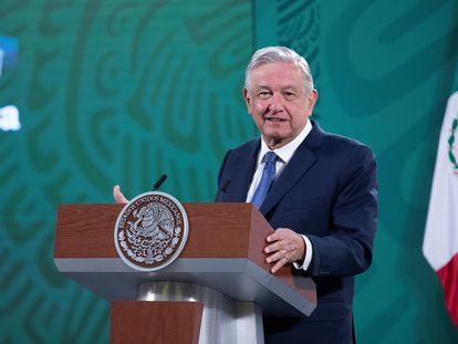 El mandatario mexicano, Andrés Manuel López Obrador, durante una rueda de prensa en Palacio Nacional de Ciudad de México.